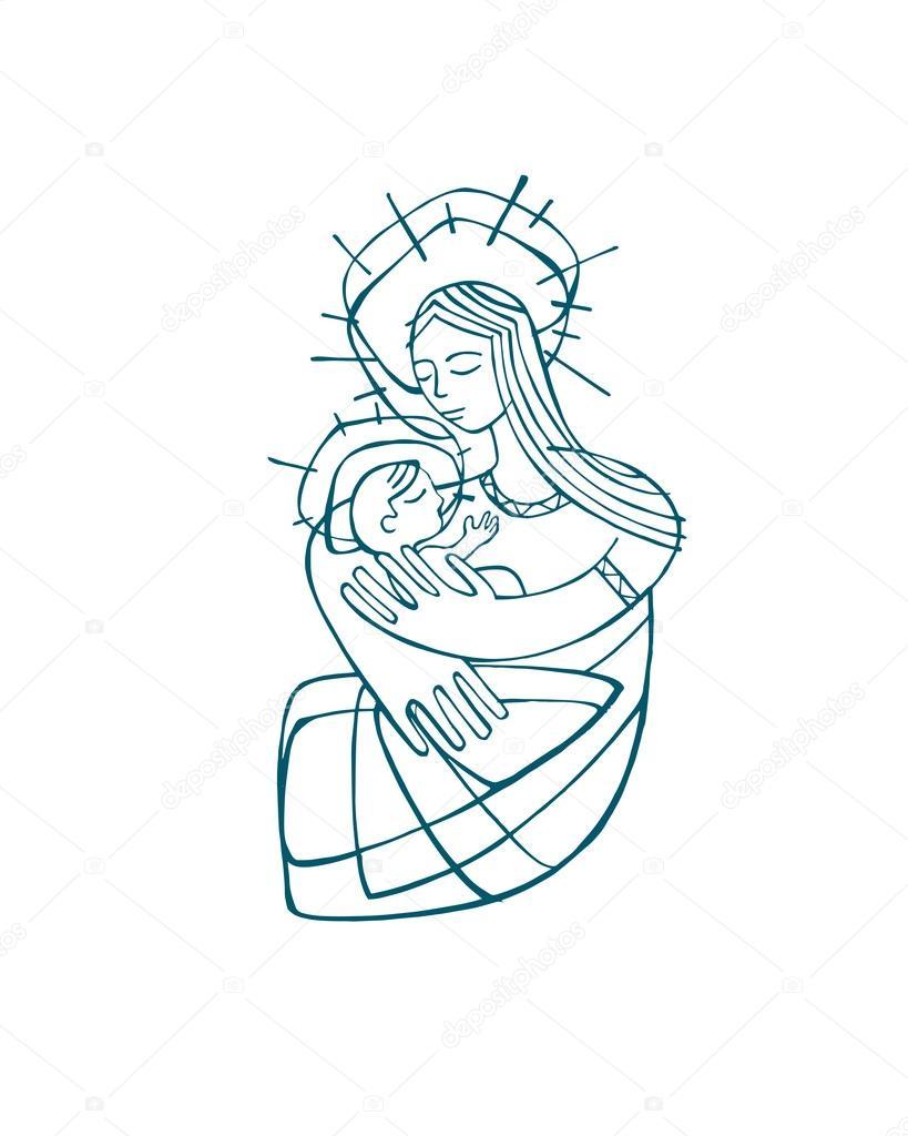 Vierge marie dessin contour image vectorielle 62896091 - Dessin contour ...