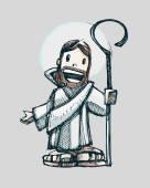 İsa Mesih karikatür tasarım — Stok Vektör