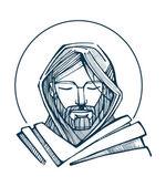 Jesus face Hand drawn vector illustration or drawing of Jesus face — Vetor de Stock
