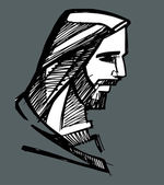 Jesus face Hand drawn vector illustration or drawing of Jesus face — Stock Vector