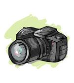 Reflex camera Hand drawn — Vector de stock
