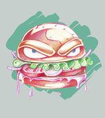 Büyük kötü burger — Stok Vektör