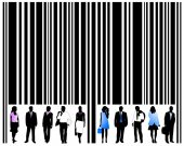 Barcode and people — Stock Vector