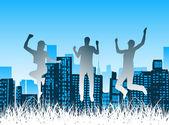 People jump — Stock Vector