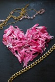 ピンク フラワー ハート — ストック写真