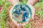Donna che tiene il globo sulle sue mani, gli elementi di questa immagine completam — Foto Stock