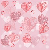 Romantic Hearts  Pattern Background — Stock Vector