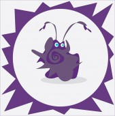Little violet monster dancing — Stock Vector