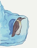 Penguin is on the iceberg — Stock vektor