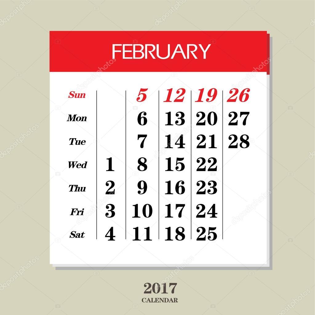 Februar 2017 Kalendervorlage –