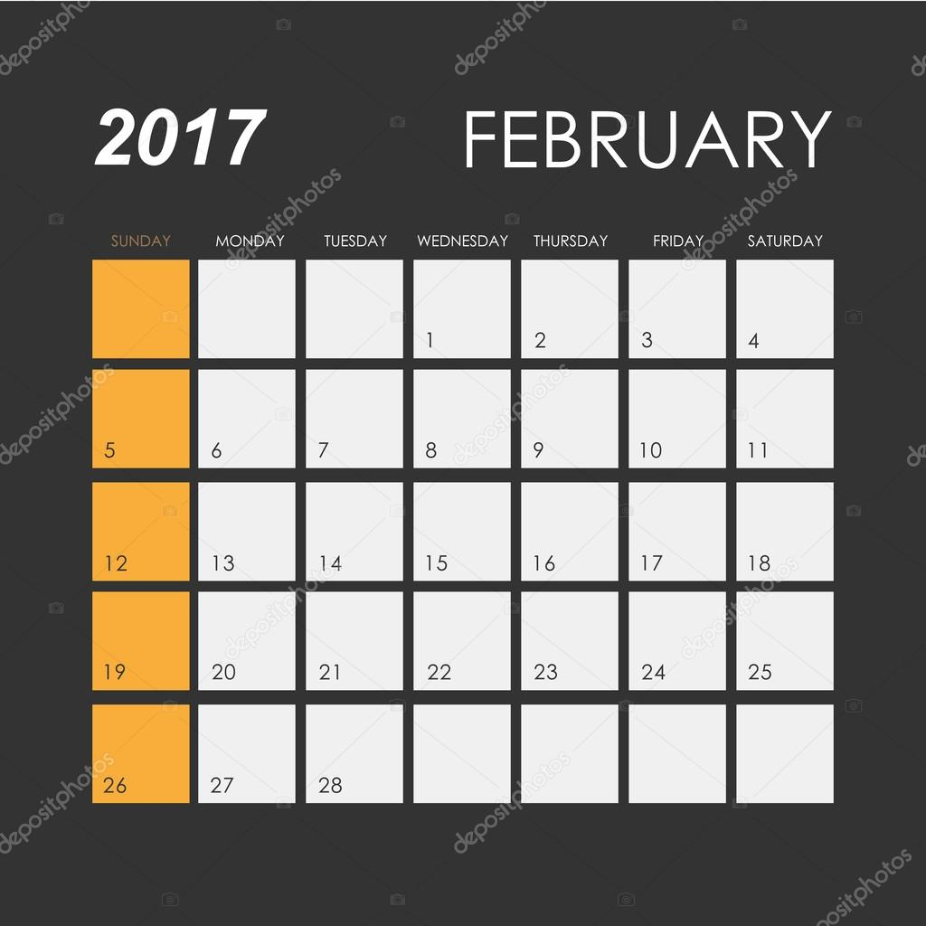Kalendervorlage Februar 2017