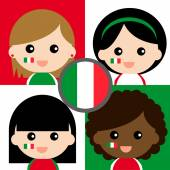 Group of happy Italy's supporters — Stock Vector
