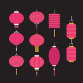 Collection of pink  Chinese lanterns — Stock Vector