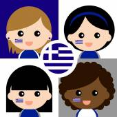 Group of happy Greece supporters — Stock Vector