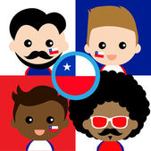 Group of happy Chile supporters — Stock Vector