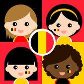Group of happy Belgium supporters — Stock Vector