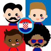 Group of happy Croatia supporters — Stock Vector