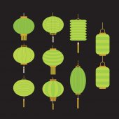 Collection of green Chinese lanterns — Stock Vector