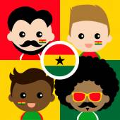 Group of happy Ghana supporters — Stock Vector