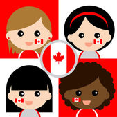 Group of happy Canada supporters — Stock Vector