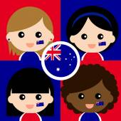 Group of happy Australia supporters — Stock Vector