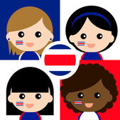 Group of happy supporters from Costa Rica — Stock Vector