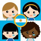 Group of happy Argentina supporters — Stock Vector