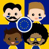 Group of happy supporters of European Union — Stock Vector