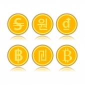 Set of foreign coins — Stock Vector