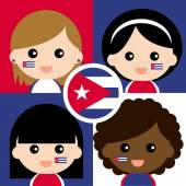Group of happy Cuba supporters — Stock Vector