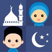 Cute Muslim characters and beautiful mosque — Stok Vektör