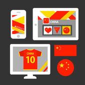 Set of China flag, emblem and pattern — Stock Vector