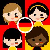 Group of happy German supporters — Stock Vector