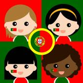 Group of happy Portugal's supporters — Stock Vector