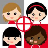 Group of happy English supporters — Stock Vector
