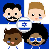 Group of happy Israel's supporters — Stock Vector
