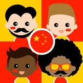 Group of happy China supporters — Stock Vector