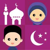 Set of cute Muslim characters and elements — Stock Vector