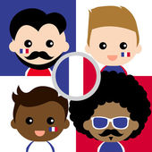 Group of happy French supporters — Stock Vector