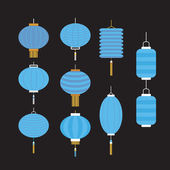 Collection of blue Chinese lanterns — Stock Vector