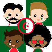 Group of happy Algeria supporters — Stock Vector