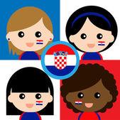 Group of happy Croatia supporters — Stock Vector