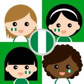 Group of happy Nigeria's supporters — Stock Vector