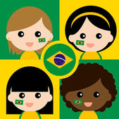 Group of happy Brazil supporters — Stock Vector