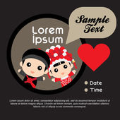 Cute chinese couple  with love symbols — Stock Vector
