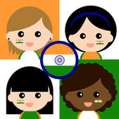 Group of happy Indian supporters — Stock Vector