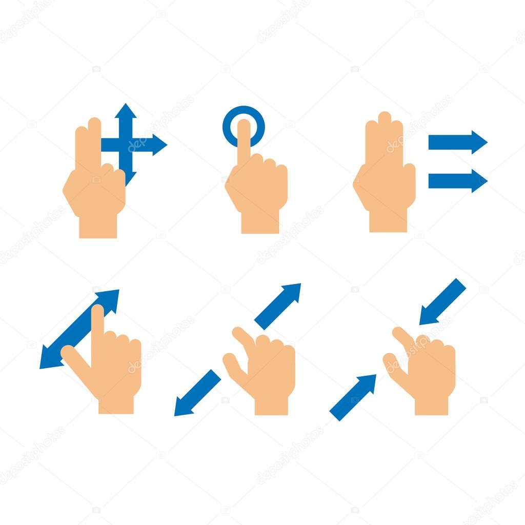 在白色背景-矢量图上设置的触摸设备屏幕的手指手势
