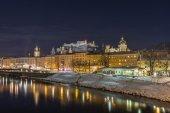 Salzach river and Salzburg at night — Stock Photo
