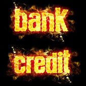 Fire Text Bank Credit — Stock Photo