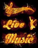 Fire Live Music Text and Stave — Stock Photo